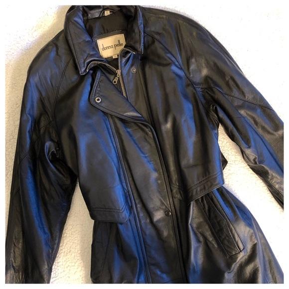 best cheap 035af a2f15 DONNA PELLE Long Black Leather Coat ~Like New!